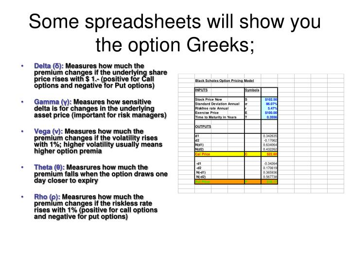 Some spreadsheets will show you the option Greeks;