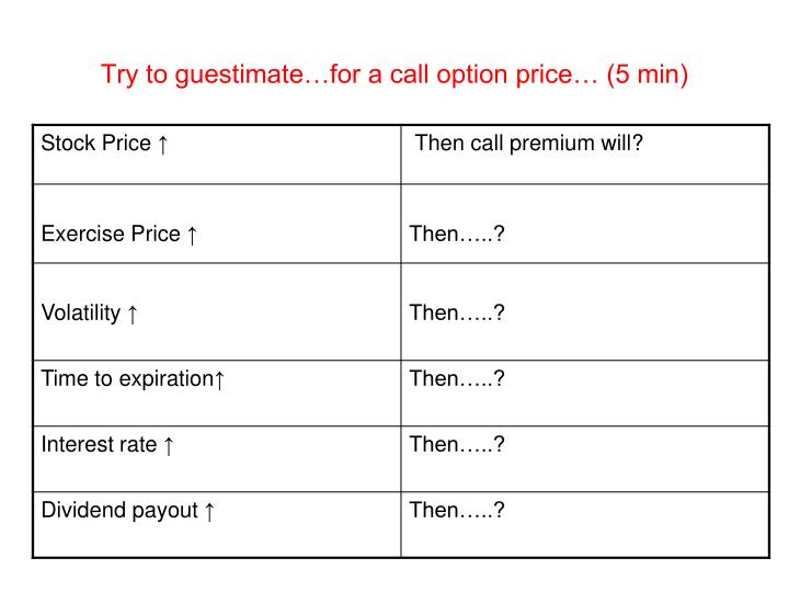 Try to guestimate…for a call option price… (5 min)