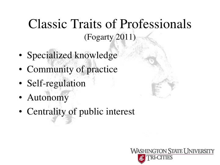 Classic Traits of Professionals