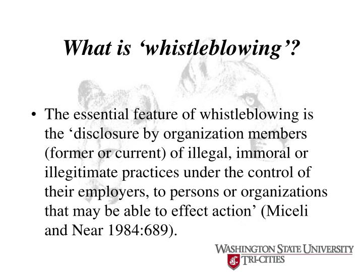 What is 'whistleblowing'?