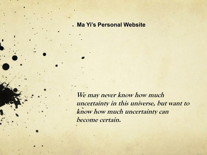 Ma Yi's Personal Website