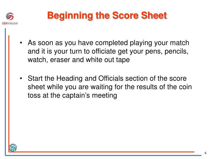 Beginning the Score Sheet