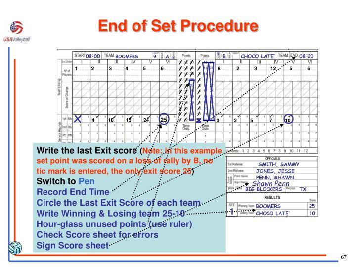 End of Set Procedure