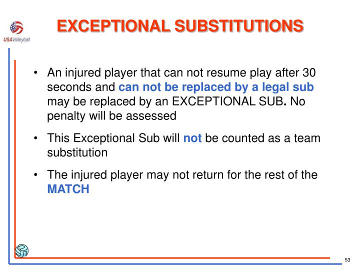 EXCEPTIONAL SUBSTITUTIONS