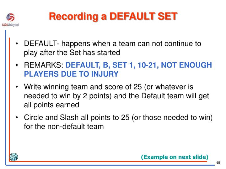 Recording a DEFAULT SET