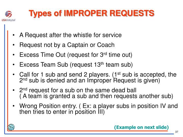 Types of IMPROPER REQUESTS