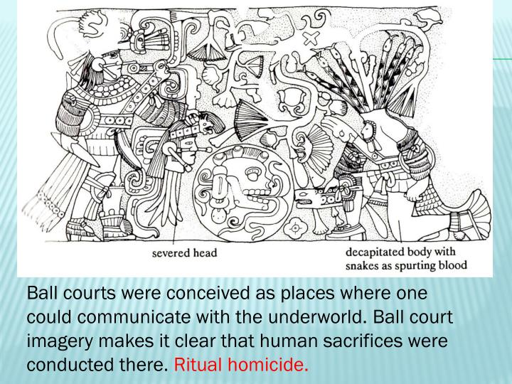 Ball courts were conceived as places where one could communicate with the underworld. Ball court imagery makes it clear that human sacrifices were conducted there.