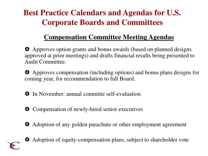 Best Practice Calendars and Agendas for U.S. Corporate Boards and Committees