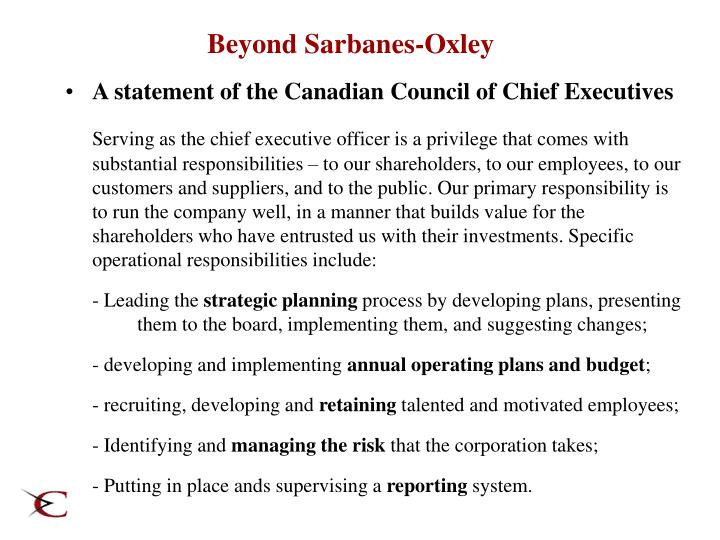 Beyond Sarbanes-Oxley