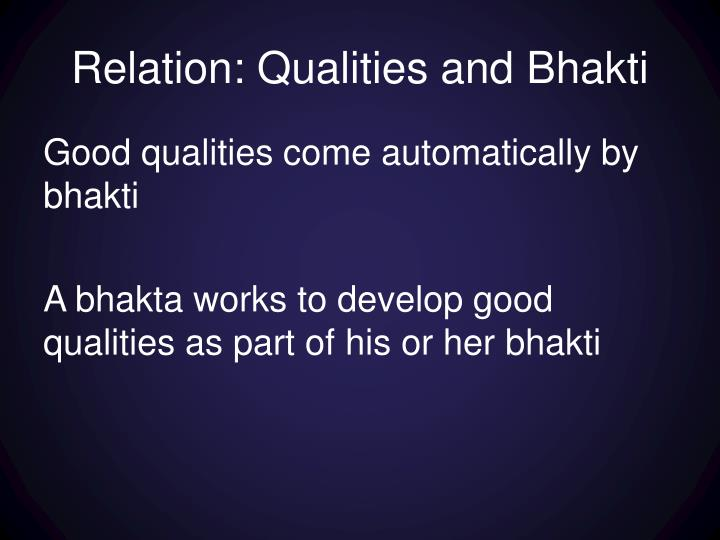 Relation: Qualities and