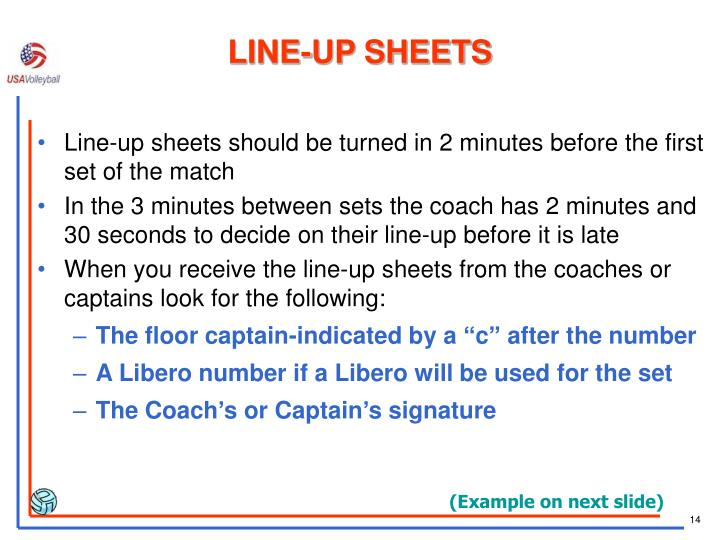 LINE-UP SHEETS