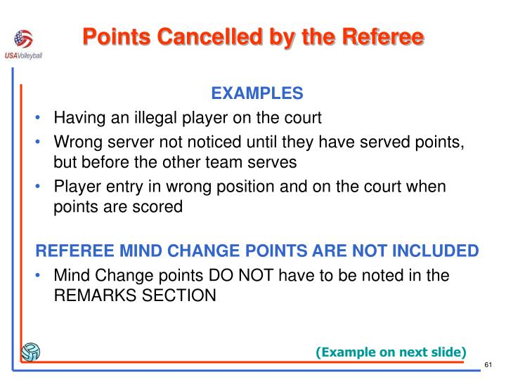 Points Cancelled by the Referee