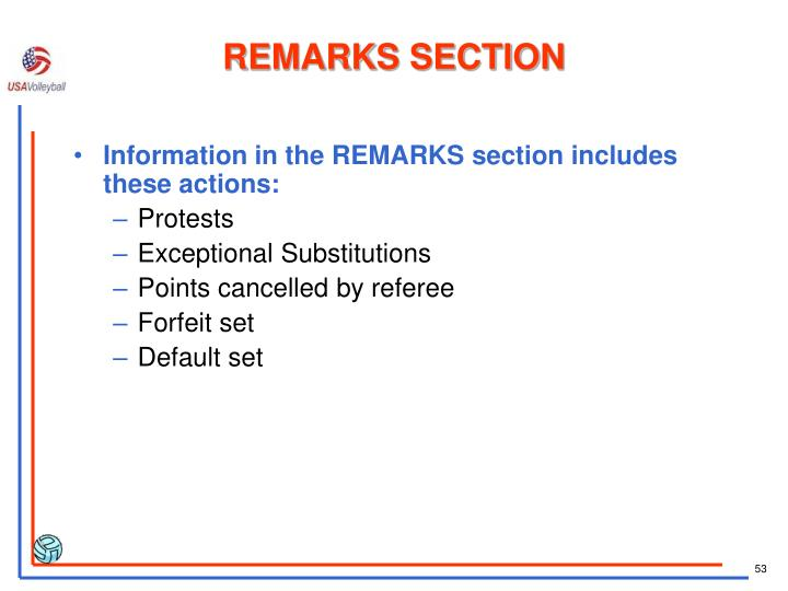 REMARKS SECTION
