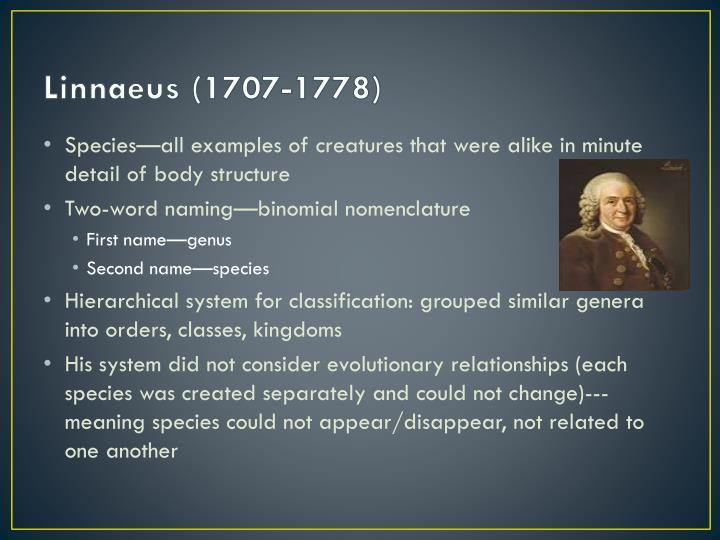 Linnaeus (1707-1778)