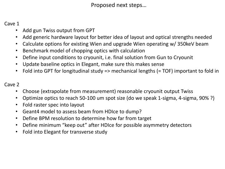 Proposed next steps…
