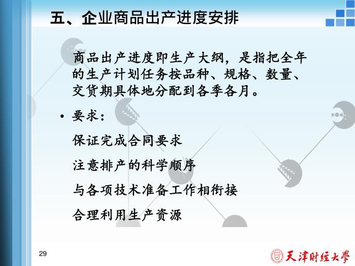 五、企业商品出产进度安排