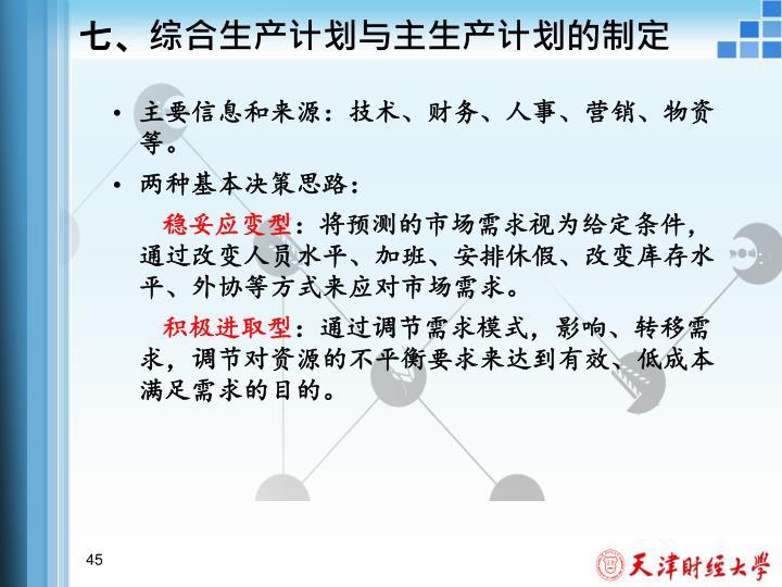 七、综合生产计划与主生产计划的制定