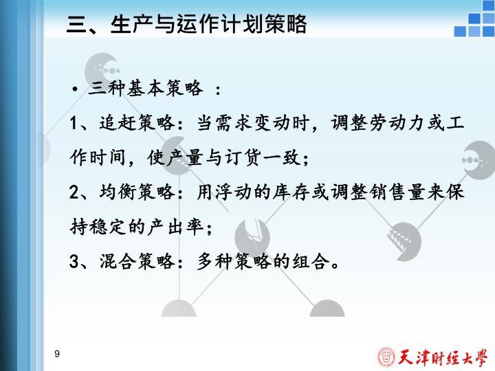 三、生产与运作计划策略