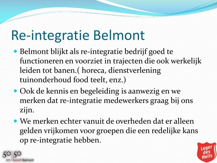 Re-integratie Belmont