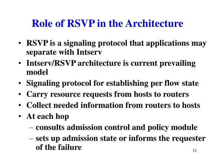 Role of RSVP in the Architecture