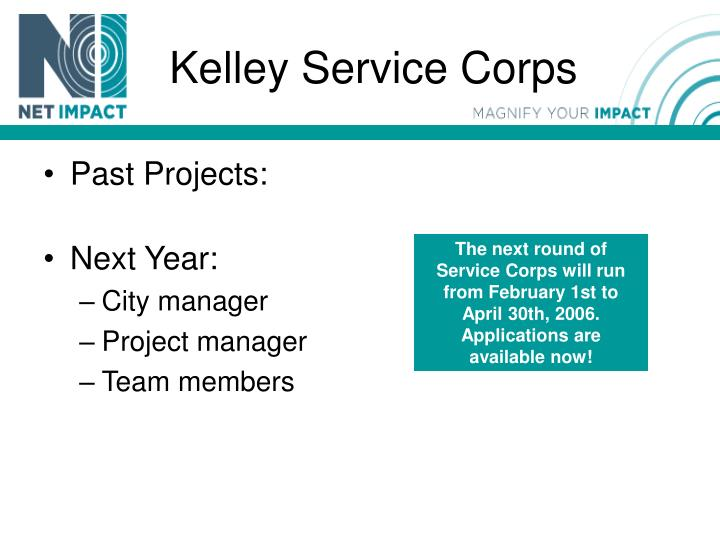 Kelley Service Corps