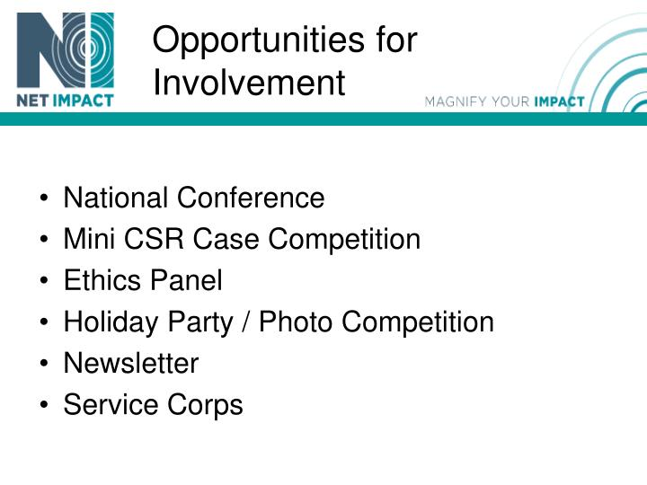 Opportunities for Involvement