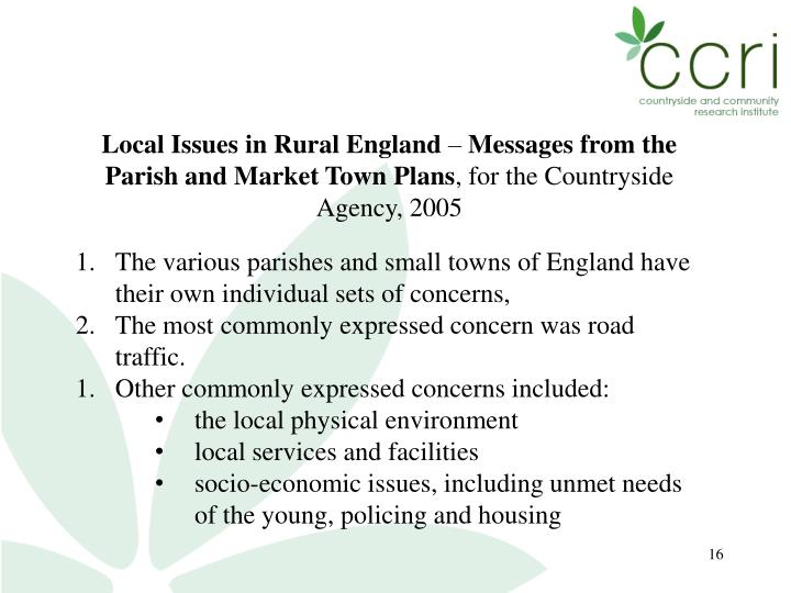 Local Issues in Rural England