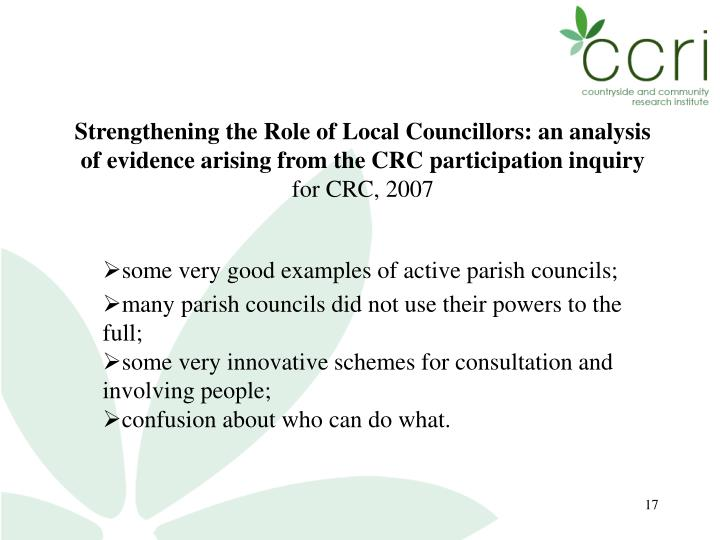 Strengthening the Role of Local Councillors: an analysis of evidence arising from the CRC participation inquiry