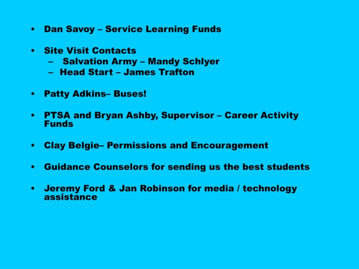Dan Savoy – Service Learning Funds