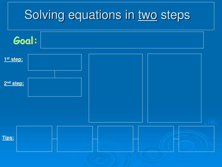 Solving equations in two steps