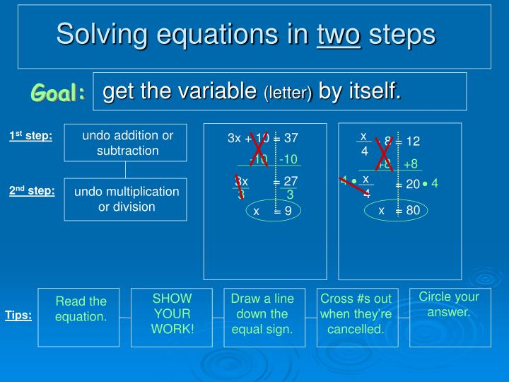 Solving equations in two steps1