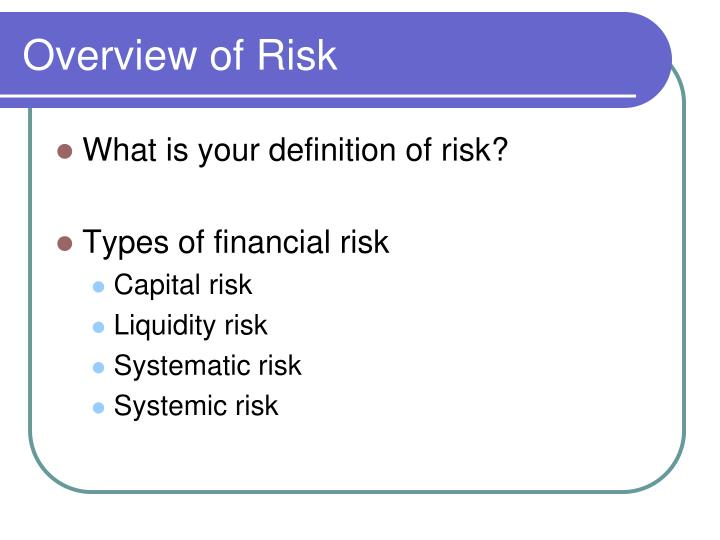 Overview of Risk