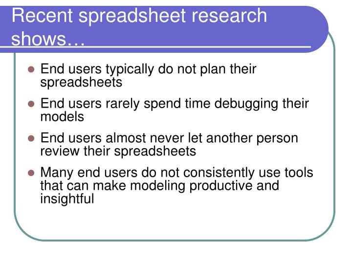 Recent spreadsheet research shows…
