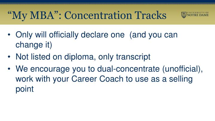"""My MBA"": Concentration Tracks"