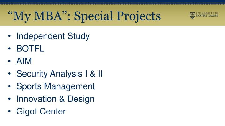 """My MBA"": Special Projects"