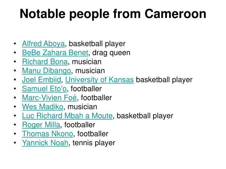 Notable people from Cameroon