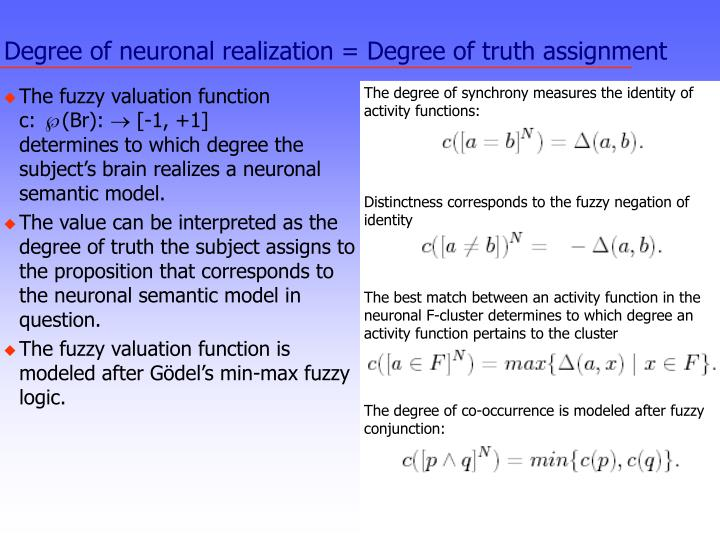 Degree of neuronal realization = Degree of truth assignment