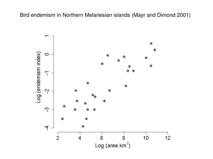 Bird endemism in Northern Melanesian islands (Mayr and Dimond 2001)