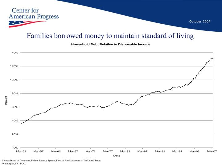 Families borrowed money to maintain standard of living