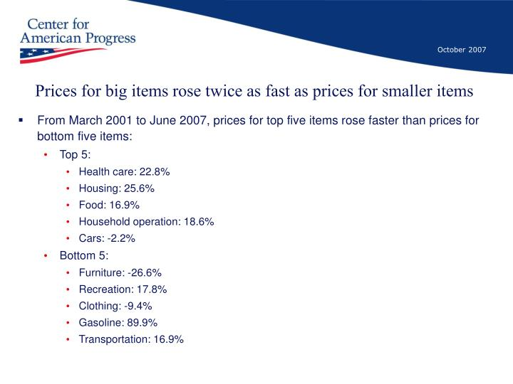 Prices for big items rose twice as fast as prices for smaller items