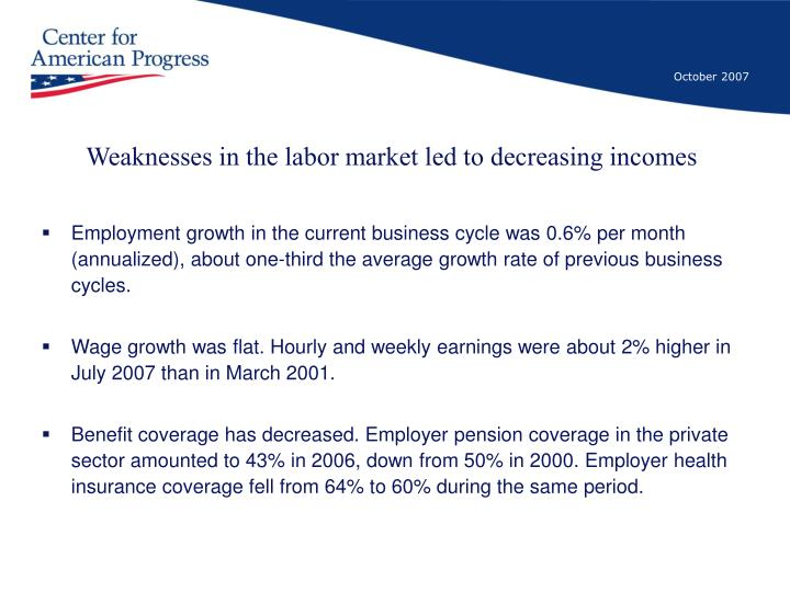 Weaknesses in the labor market led to decreasing incomes
