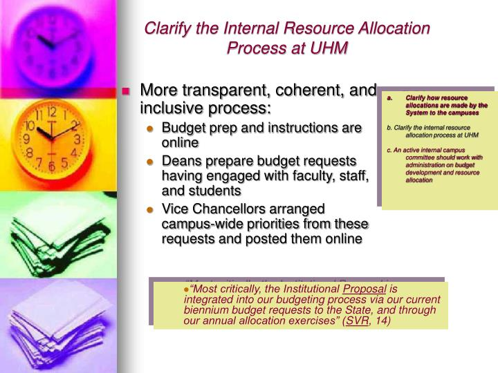 Clarify the Internal Resource Allocation Process at UHM