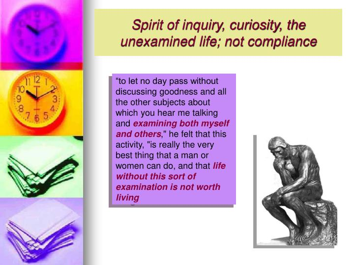 Spirit of inquiry, curiosity, the unexamined life; not compliance
