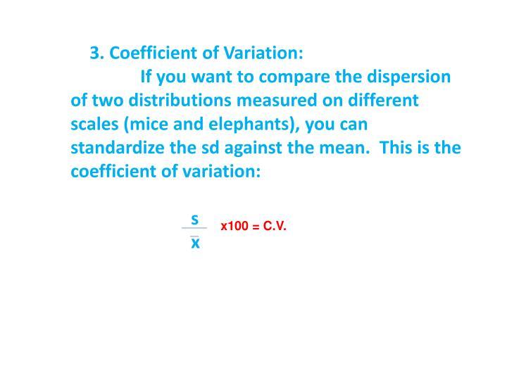3. Coefficient of Variation: