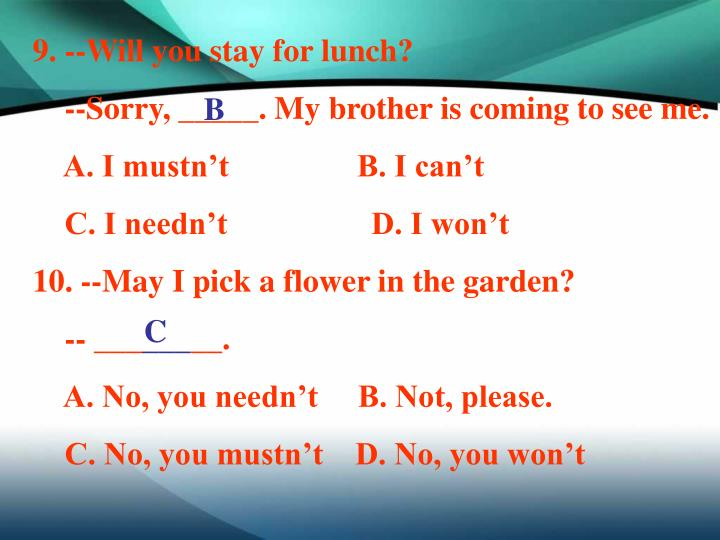 9. --Will you stay for lunch?