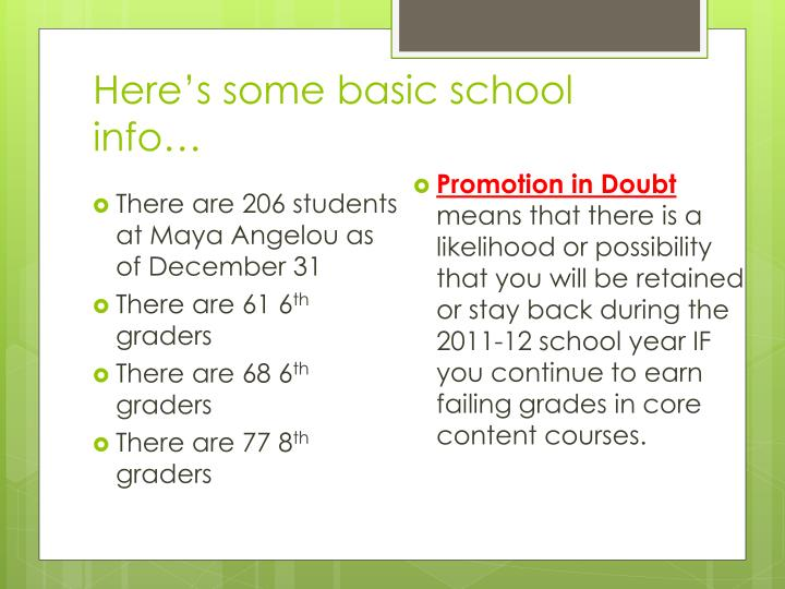 Here's some basic school info…