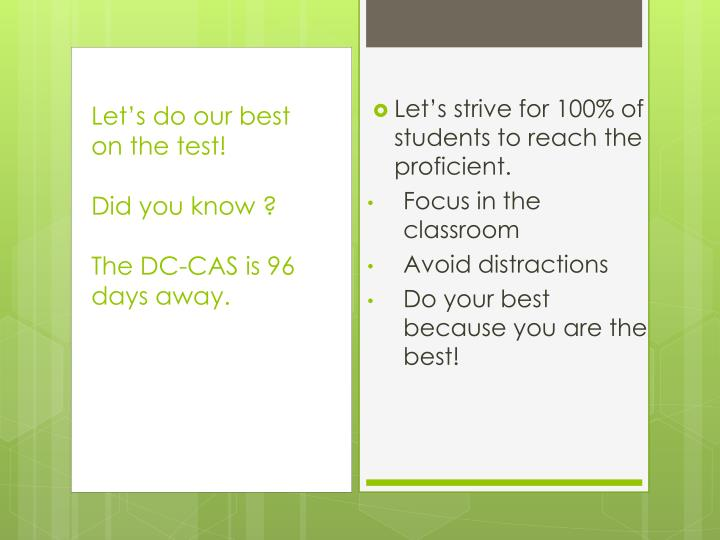 Let's strive for 100% of  students to reach the proficient.