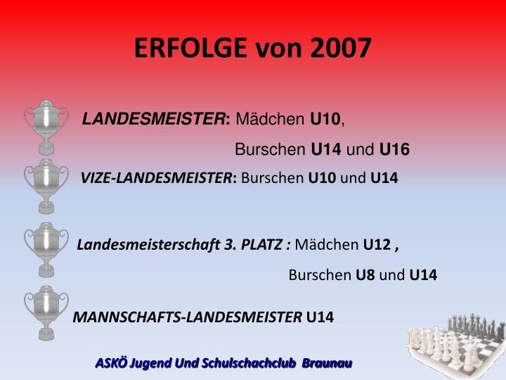 ERFOLGE von 2007