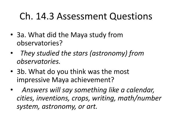Ch. 14.3 Assessment Questions