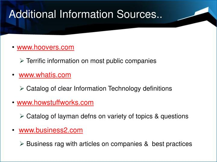 Additional Information Sources..
